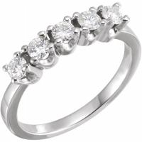 Ladies 14K White 3 mm Round Forever One™ Moissanite Anniversary Band