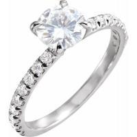 Ladies 14K White 6.5 mm Round Forever One™ Moissanite & 1/3 CTW Diamond Engagement Ring