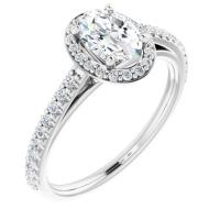 Ladies 14K White 7x5 mm Oval Forever One™ Moissanite & 1/4 CTW Diamond Engagement Ring
