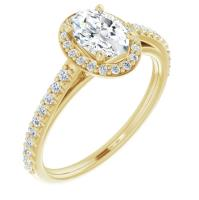 Ladies 14K Yellow Gold 7x5 mm Oval Forever One™ Moissanite & 1/4 CTW Diamond Engagement Ring